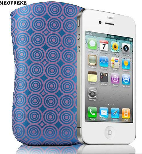protective waterproof neoprene sleeve case by zig-zag stitching for iphone 4/4s