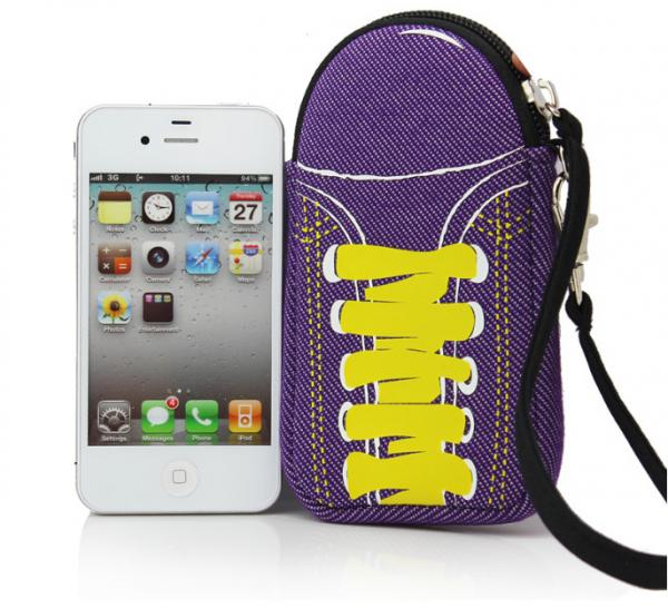 special shoes design soft mobile neoprene phone pouch bag with wrist strap to