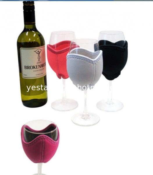 Decorative 3mm neoprene wine glass cooler with embroidery monogram logo