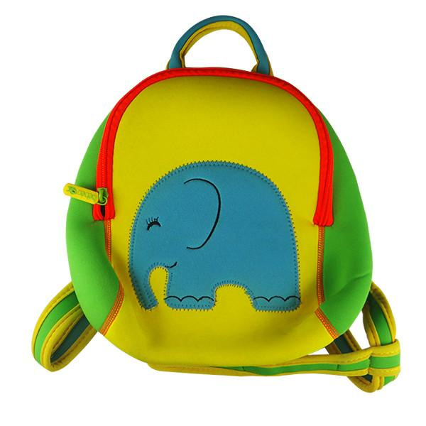 Zippered Cute yellow neoprene children backpack camping bag with elephant