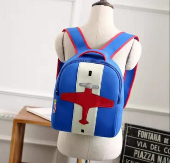 plane embroidered,33x24x11cm kids backpack with adjusted double shoulder straps.