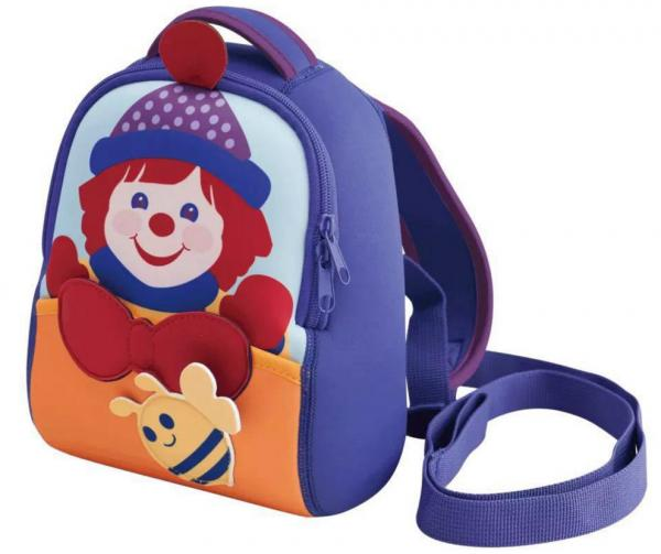 three-dimentional purple lovely clowns neoprene backpack for 3-5years old,double