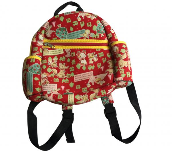 Red zipper neoprene children backpack with one main roomy pocket and a small