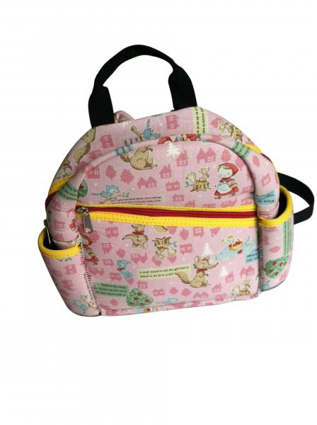 Pink neoprene kids backpack with fairy tale scene heat-transfer printing on